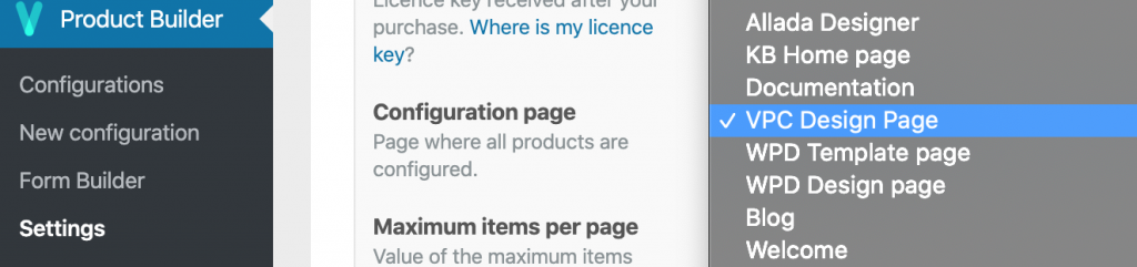 Page selection in VPC configuration setting view